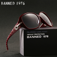 BANNED 1976 Gradient Sunglasses Women Polarized Elegant Rhinestone Ladies Designer Sun Glasses Eyewear Accessories Oculos De
