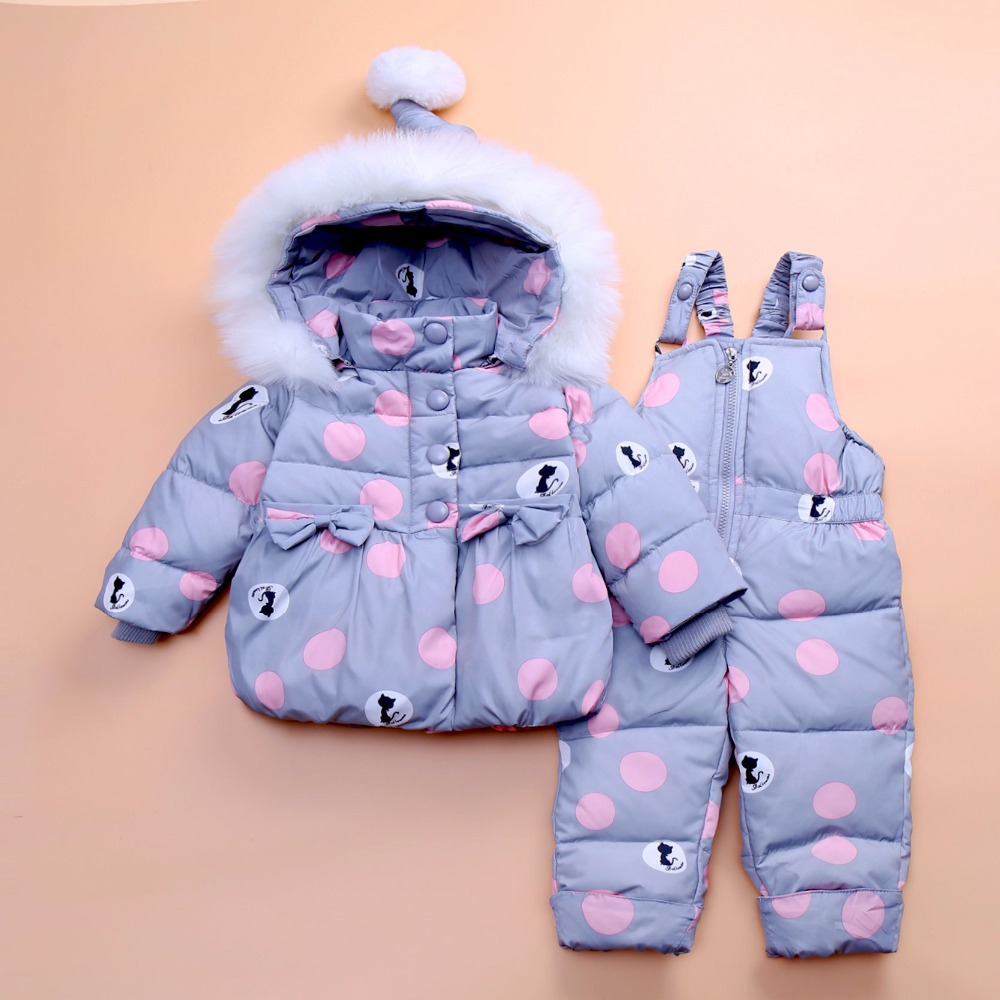 Baby girls boys winter outerwear coats clothing set kid thicken down snow wear overalls infant jumpsuit snowsuit down & parkas infant snowsuit new toddler boys girls winter suits thermal down jacket thickening jumpsuit fur collar baby snow wear