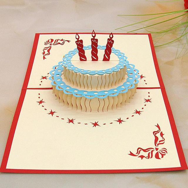 Aliexpress Buy Birthday Cake Candle Design Greeting Card 3d