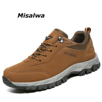 Misalwa New Classics Style Men Hikin Shoes Suede Leather Travel Boots Lace Up Men's Mountain Climbing Shoes Sneakers Big Plus