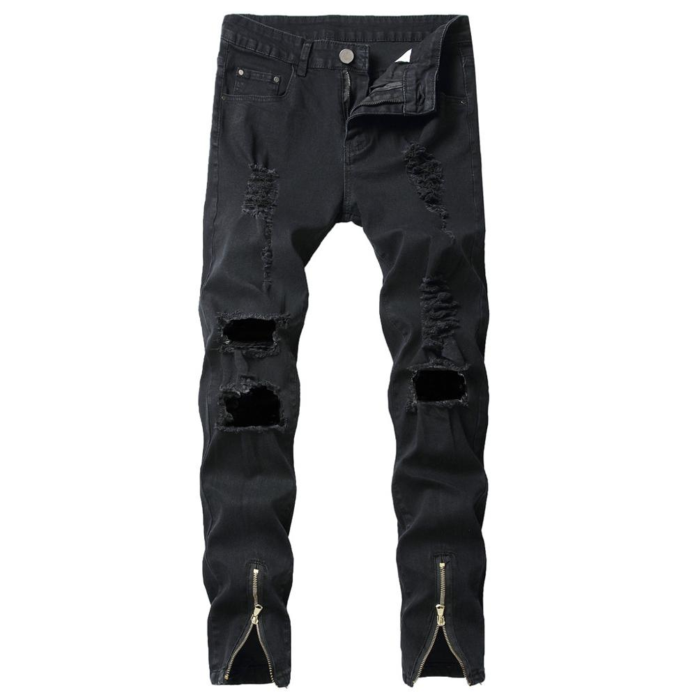Men's New Fashion Elastic Personality Stretch Ripped Personality Trouse Spring 2019 MenClothes Denim Pants Distressed Freyed