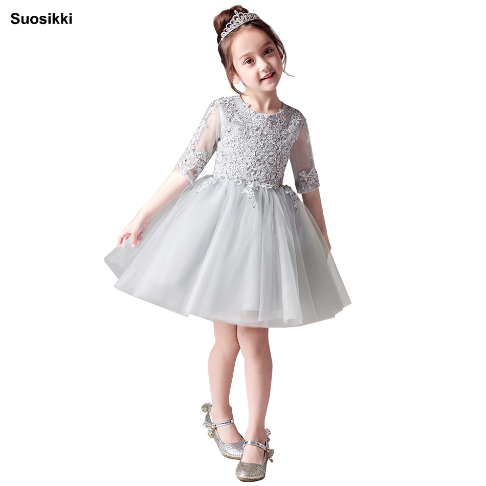 Cheap   Flower     Girls     Dresses   For Wedding Gowns Cap Sleeve Lace Sash Bow   Girl   Birthday Party   Dress   Zipper Tulle Pageant   Dress