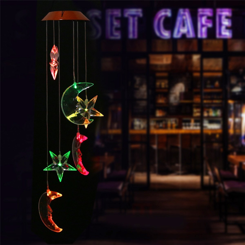 LED Solar Light Romantic Wind Chime Lamp Color Changing Solar Panel Lucky Bottle Lamps for Home.Patio,Yard,Garden Decoration solar color changing led hanging wind spinner lamp for courtyard