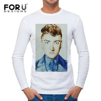2017 new style Man's White T-shirt long sleeve O-neck mens Brand personality tshirt Cotton UK Singer sam Figure stay with me L