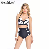 High Waist Swimwear Women Fashion Neoprene Bikini Woman New Summer 2016 Sexy Zipper Swimsuit Bath Suit