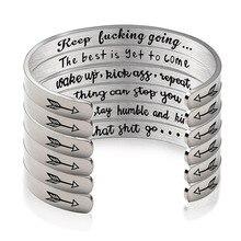 6 мм ширина поверхности манжеты браслет для женщин мужчин серебро Нержавеющая сталь вдохновляющие держать в движении браслеты украшения подарки