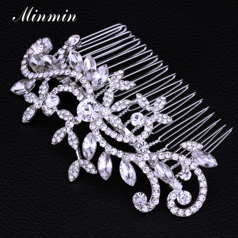 Minmin Silver Color Floral Crystal Bridal Comb Hair Pins Wedding Hair Accessories for Women Flower Hair Jewelry  Headwear FS001