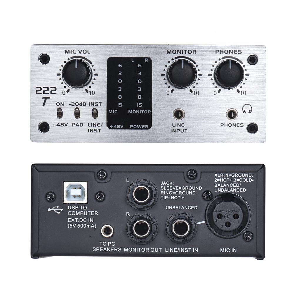 2 Channel Audio System Interface External Sound Card +48V phantom power DC 5V for Computer Smartphone With USB Cable