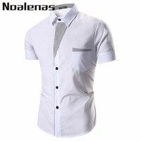 Verano caliente 2018 color blanco de manga corta botón abajo camisa masculina moda blusa camisa algodón ropa de trabajo ropa sólida