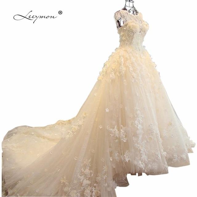 Leeymon Ball Gown Lace Wedding Dress 2017 Long Train 3D Flowers ...