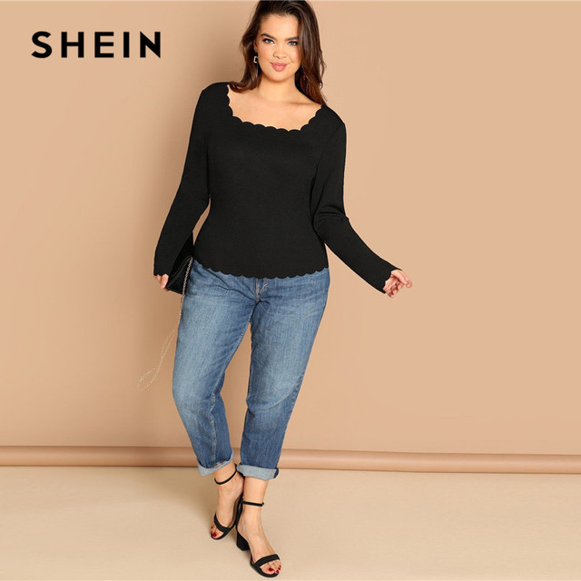 SHEIN Plus Size Long Sleeve Scallop Trim Square Collar Women Black Slim Fit Top Tees Casual Solid T Shirt 3