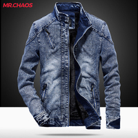 High quality New 2018 jacket men's fall and winter trend Cotton slim men's motorcycle denim jacket windshield warm clothing