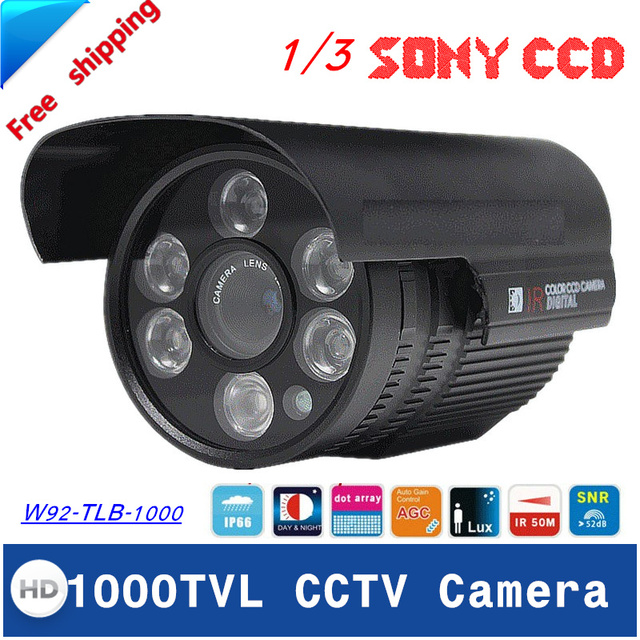"""Envío libre 2016 nuevo 1/3 """"sony ccd hd 1000tvl cctv cámara de seguridad impermeable al aire libre cámara de infrarrojos de 100 metro"""