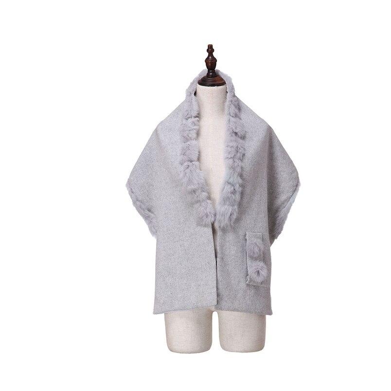 ZY87035 conception spéciale mode automne hiver écharpe en laine avec col de lapin de luxe femmes châle enveloppe Poncho solide - 4