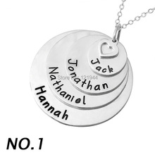 Personnalisé Layered Élégant pile disque nom collier, pendentif en alliage, gravé famille membre noms, personnalisé mère de collier