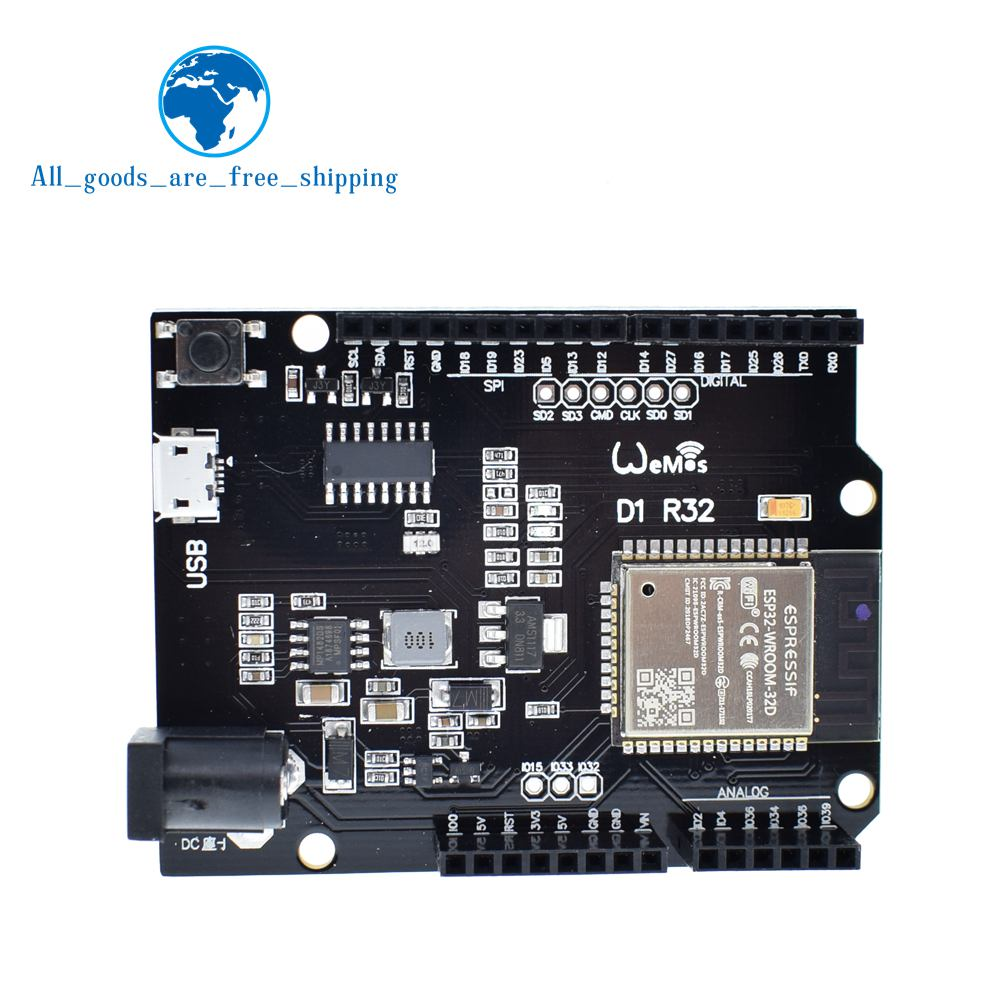 US $4 69 9% OFF|TZT For Wemos D1 ESP32 ESP 32 WiFi Bluetooth 4MB Flash UNO  D1 R32 Board Module CH340 CH340G Development Board For Arduino-in