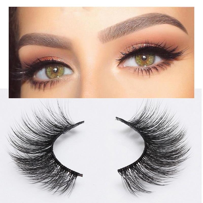 b87a274dd03 2 Pairs Thick False Eyelashes Set Natural Long Lashes Makeup Fake Eyelashes  Reusable