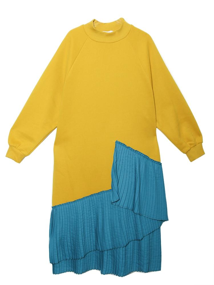 Robes yellow Manches Longues Lâche Taille Velours Chandail Robe Black Dames Nouvelle Mode Longue Irrégulière D'hiver De Pluz 2019 À Femmes Superaen OCqRnU