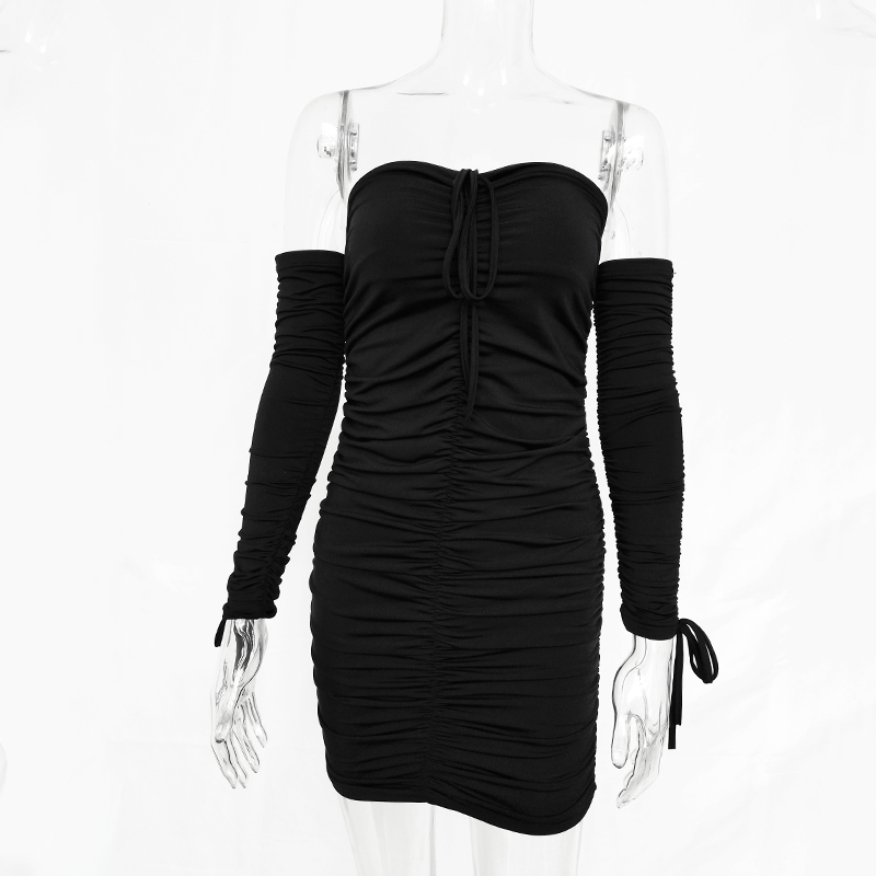 Autumn Winter Bandage Dress Women Sexy Off Shoulder Long Sleeve Slim Elastic Bodycon Party Dresses 32