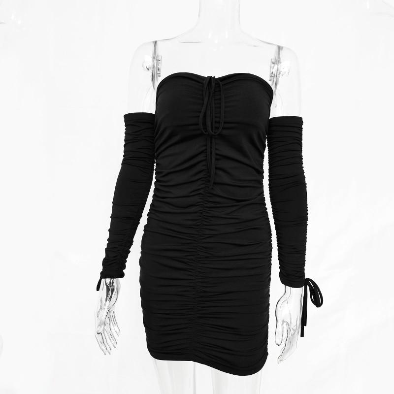 Off Shoulder Long Sleeve Slim Elastic Bodycon Dress 9
