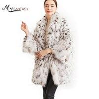M. Y. FANSTY 2017 редкая белая дикая Североамериканская Рысь Высокая Роскошная Мода BobCats меховые пальто натуральный мех BobCats длинное пальто