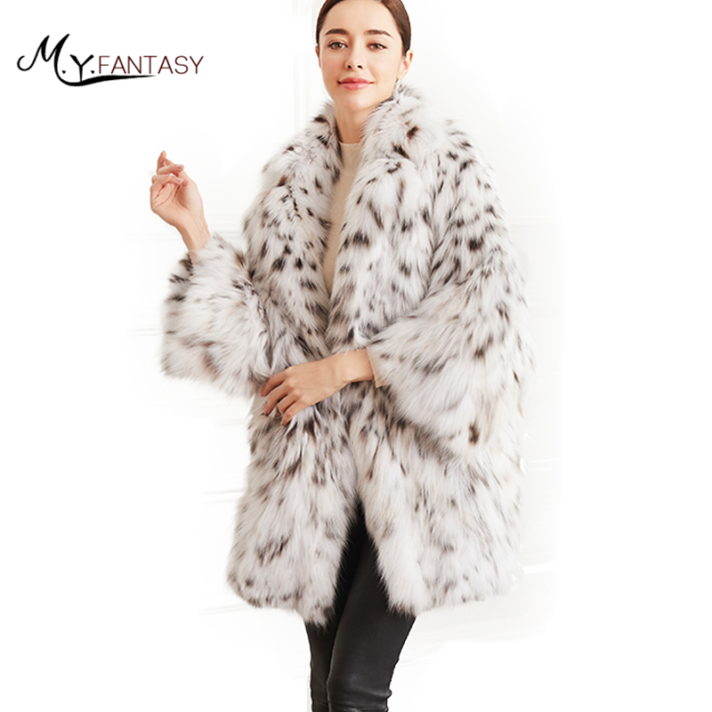 Genereus M. Y. Fansty 2017 Zeldzame Witte Wilde Noord-amerikaanse Lynx Hoge Luxe Mode Bobcats Bontjassen Real Natuurlijke Bont Bobcats Lange Jas Met De Nieuwste Apparatuur En Technieken