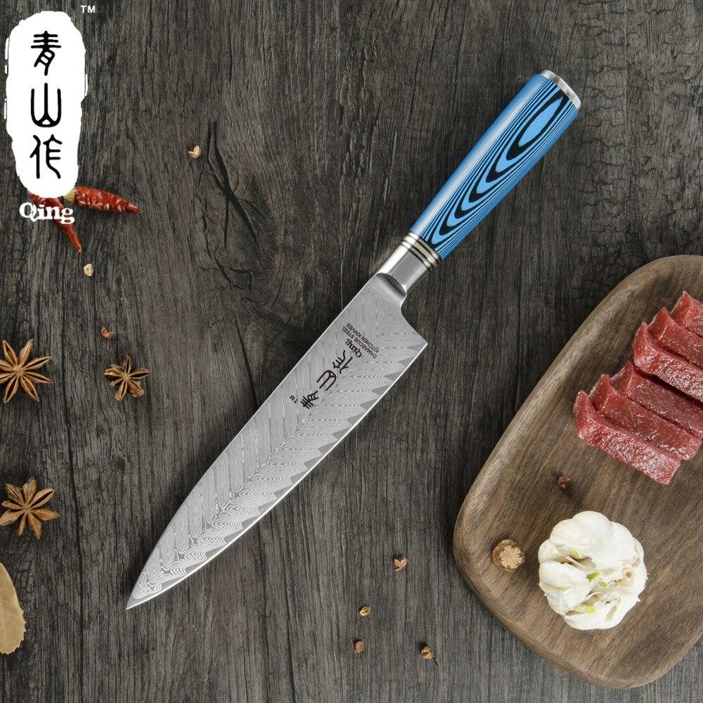 Ev ve Bahçe'ten Mutfak Bıçakları'de Qing Mutfak Bıçakları VG10 Şam Çelik mutfak bıçağı 8 inç şef bıçağı Mavi Ahşap Saplı Balık Kemik Desen Bıçak Şam Bıçağı'da  Grup 3