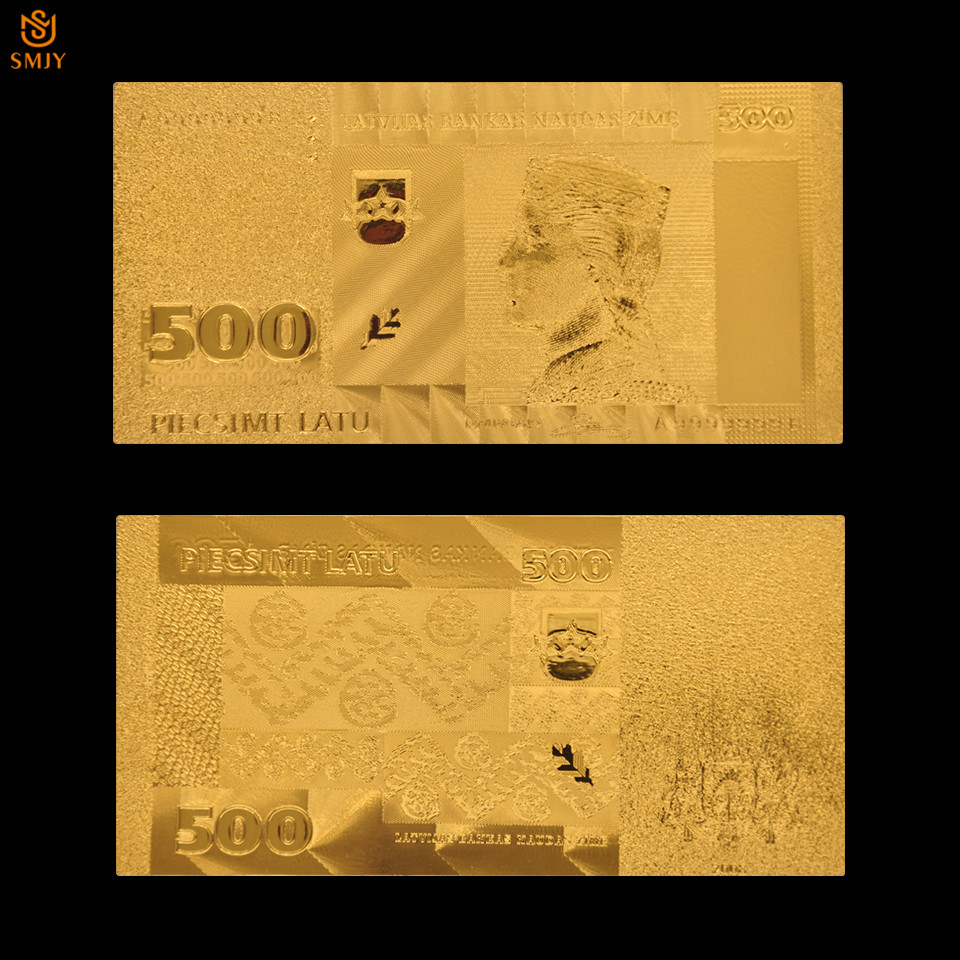 Altın kaplama banknot letonya 500 Lats kağıt para ev dekorasyon sahte para hatıra hediye 24k altın banknot koleksiyonu