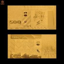 Billets de banque plaqués or 500 Lats, décoration de maison, faux cadeau Souvenir, Collection de billets en or 24k