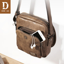 DIDE mens leather messenger shoulder bags business Vintage Handsome crossbody bag Male Casual iPad Mini Bag Famous Brand