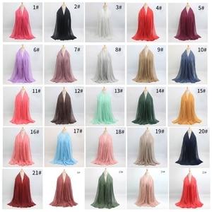 Image 2 - أوشحة شتوية ناعمة طويلة مجعد بتصميم ساخن وشاح إسلامي منسوج للحجاب 25 لونًا