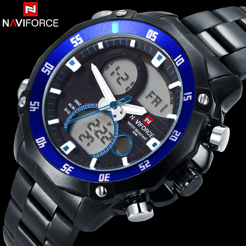 men sport watch dual display watches for men NAVIFORCE brand male digital analog Electronic quartz watches