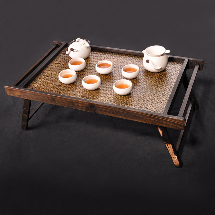 Wooden Tray Table For Breakfast Bed Serving Tray Foldable Legs Living Room Furniture Folding Bamboo Snack Tea Tray Table Design
