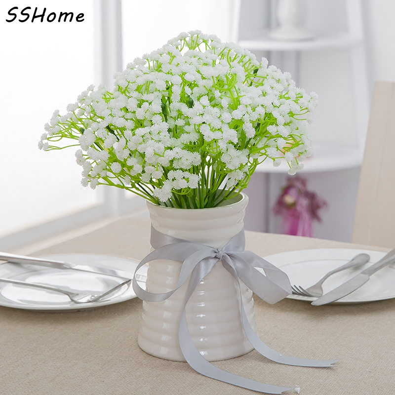 Wholesale 10pcs pretty gypsophila babys breath artificial flowers 10x 24m length artificial mightylinksfo