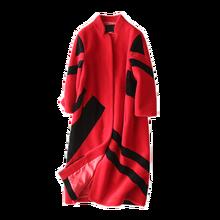 Mouton Coat female jacket women's jacket fur coat wool coat Women's winter jackets real fur women's fur coats winter Striped red