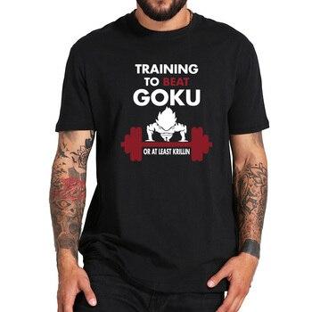 Formación para vencer a Goku camiseta Dragon Ball Z Anime 100% algodón de alta calidad súper nerd Fitness camiseta de la nave de la gota