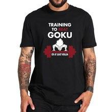 Treinamento para bater goku t shirt z anime t 100% algodão de alta qualidade super nerdy aptidão camiseta navio da gota