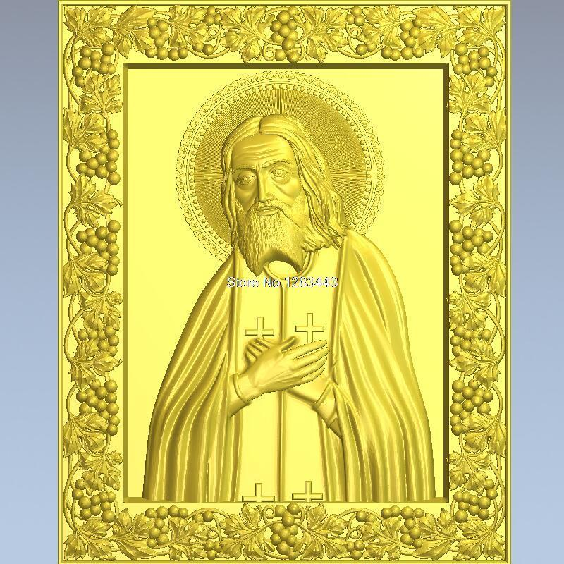High quality 3d model relief  for cnc or 3D printers in STL file Seraphim of Sarov christian cross 3d model relief figure stl format religion 3d model relief for cnc in stl file format
