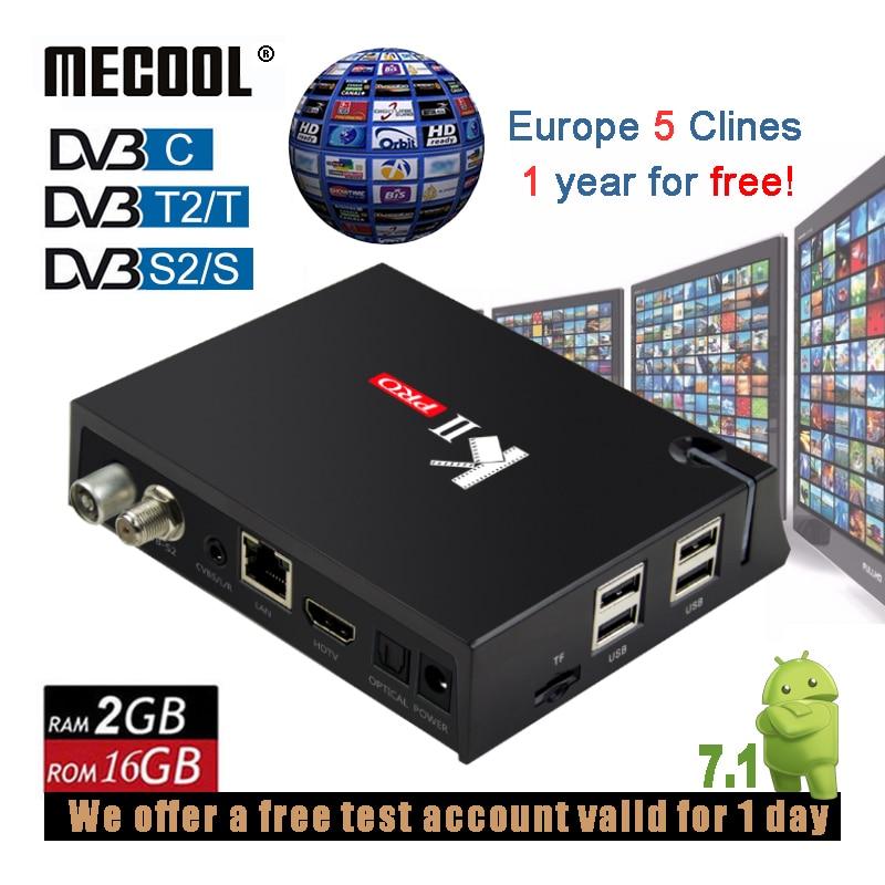 MECOOL KII Pro 2g 16g Double WiFi Android Boîte de TÉLÉVISION Intelligente DVB S2 C T2 ISDB-T Ensemble Combo décodeurs Avec L'europe Serveur 5 Clines Gratuitement
