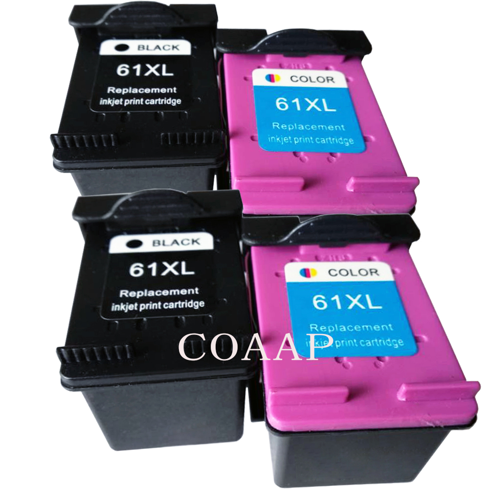 4 pk Compatible 61 XL Black Color inks for HP ENVY 4500 4501 4502 4504 5530