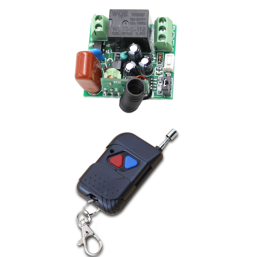Smart Switch 1 Channel Wireless Relay 220V Remote Control Light Switch RF Mini Receiver with Transmitter 2 Keys