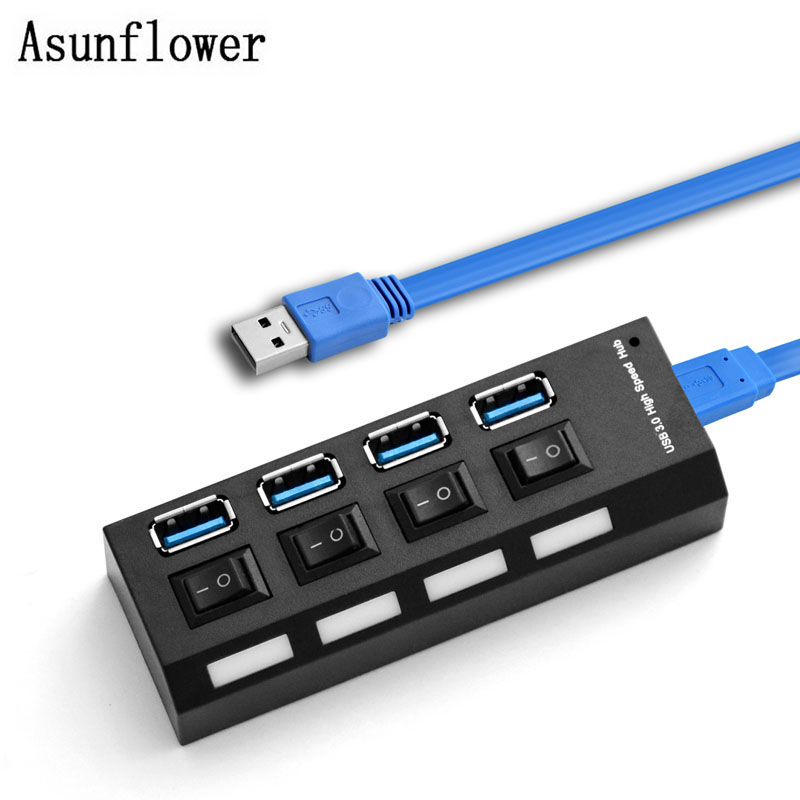 USB 2.0 3.0 HUB 4 Port Splitter High Speed 480Mbps USB 2.0 3.0 Hub LED With ON/OFF Switch For Tablet Laptop Computer Notebook high speed usb 2 0 4 port hub w usb otg adaper for smart phone notebook laptop pda black
