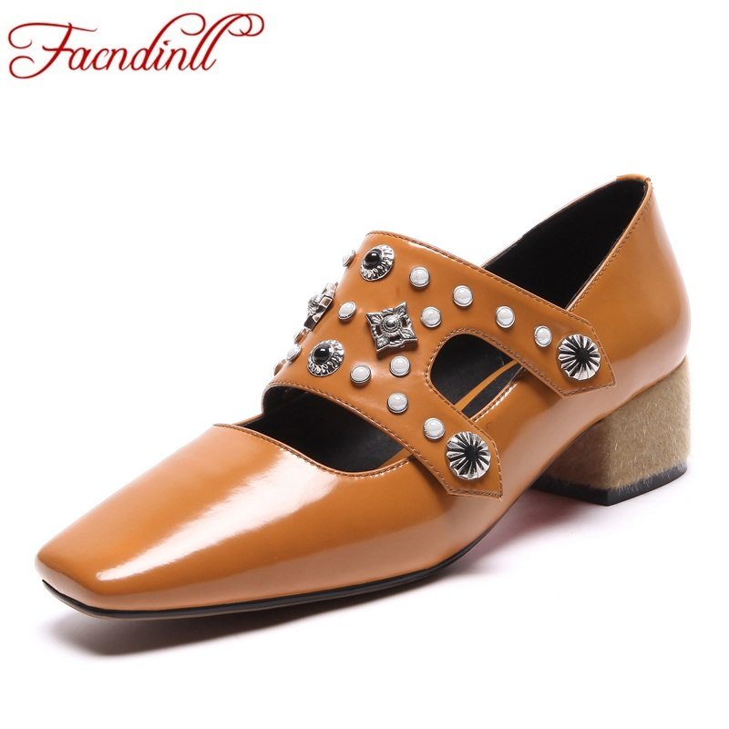 FACNDINLL women pumps new fashion genuine leather med heels square toe shoes woman rome style dress party casual shoes pumps facndinll shoes 2018 new fashion genuine leather women pumps med heels pointed toe shoes woman dress party casual black pumps