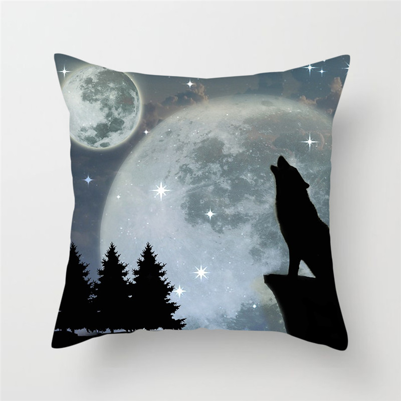 Fuwatacchi Moon Wolf Printed Pillow Cover Decorative Pillows Pillowcase Home Decor Animal Style Cushion Cover For Sofa Chair