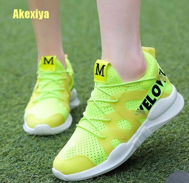 Akexiya Women's Shoes Designer Breathable Casual Shoes Outdoor Walking Sports Sneakers Fluorescent Green Comfort Vulcanized Shoe
