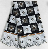 Promotion Black White Brown Big African Swiss Voile Lace Fabric 100% Cotton High Quality Lots Of Stones