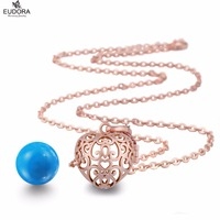 Angel Caller Chime Sound Belly Bola Heart Eudora Harmony Ball Rose Gold Floating Locket Cage Pendant Long Chain Necklace Jewelry