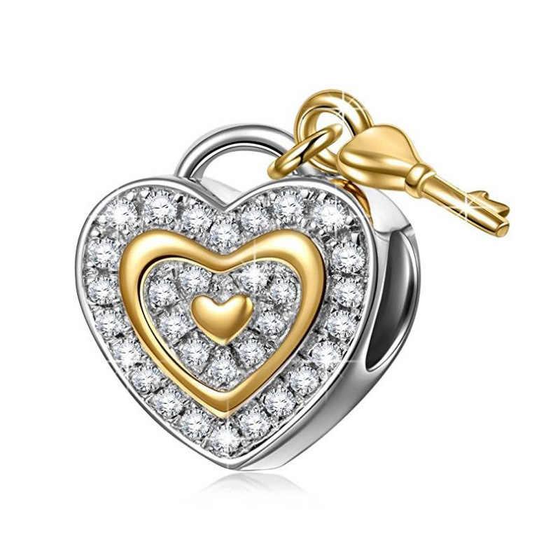1 unidad de Llave de Oro y cerradura flor mamá amor conejito infinity diy cuenta ajuste Pandora Original pulsera mujer DIY joyería mix085
