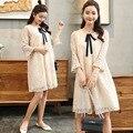 Корейское модное кружевное платье для беременных женщин; платье для беременных из органзы; одежда с юбкой; YL458