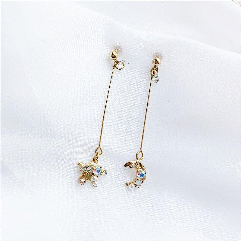 New Arrival Colorful Rhinestone Star Moon Pendant asymmetric Stud Earrings For Women Fashion Ear Jewelry Birthday Gifts